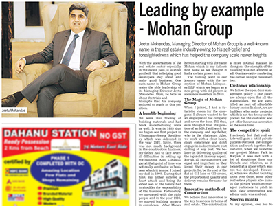 Mid Day : Leading by example - Mohan Group